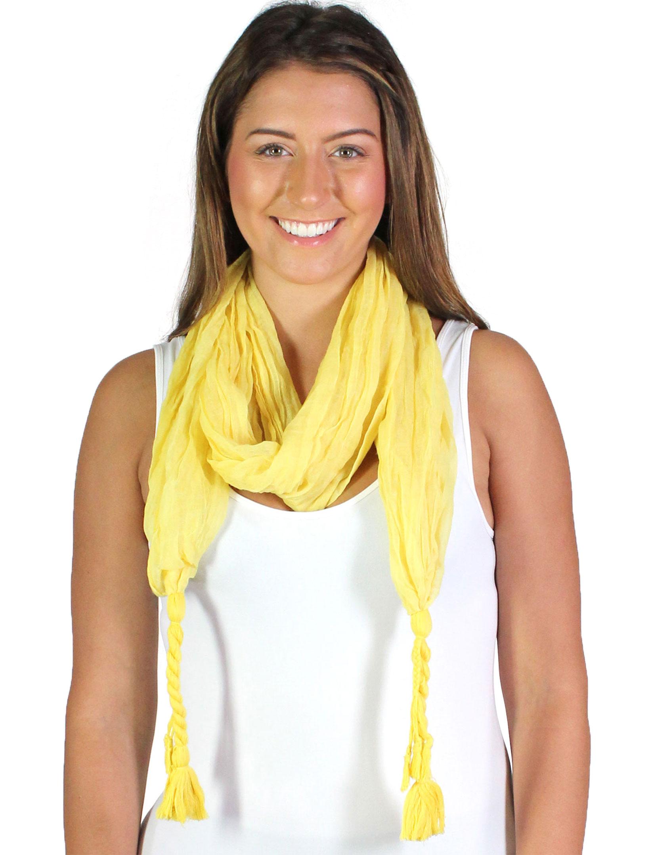 wholesale Oblong Scarves - Crinkled Woven w/ Tassel 3943