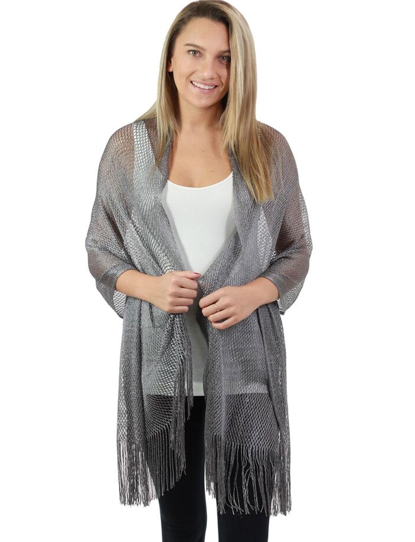 wholesale Oblong Scarves - Metallic Fishnet 90