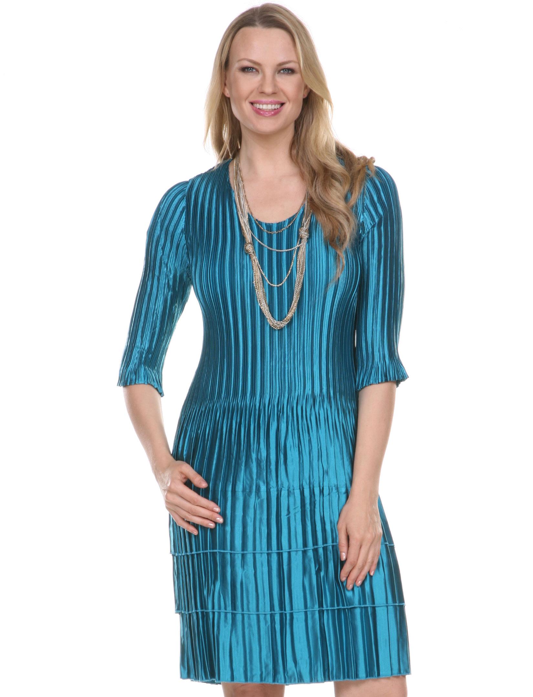 wholesale Satin Mini Pleats - Three Quarter Sleeve Dress