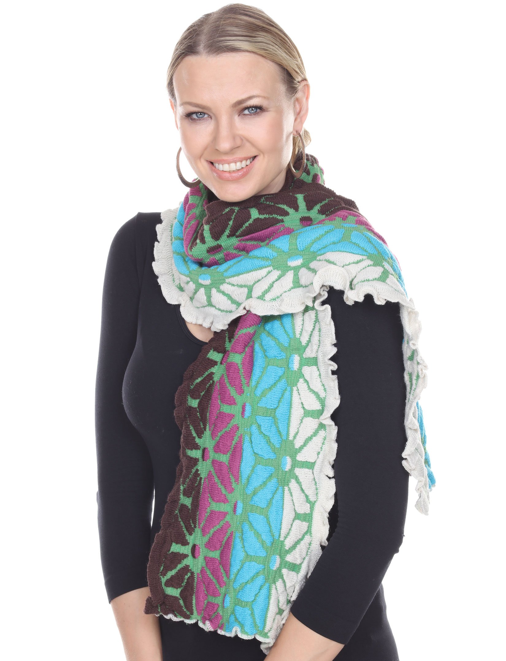 C Oblong Scarves - Embossed Knit 3877*