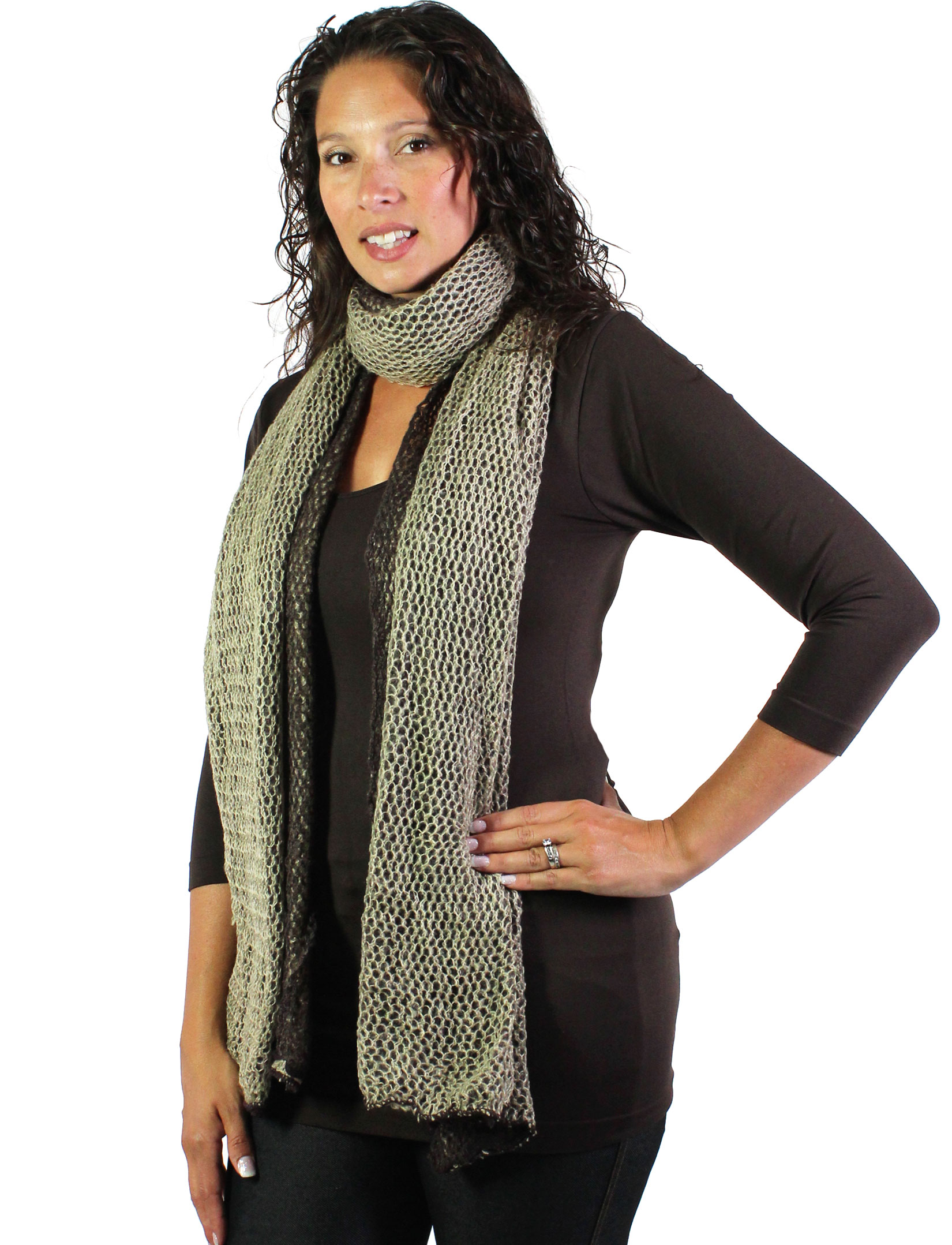 wholesale C Oblong Scarves - 3 in 1 Crochet Two-Ply 8086