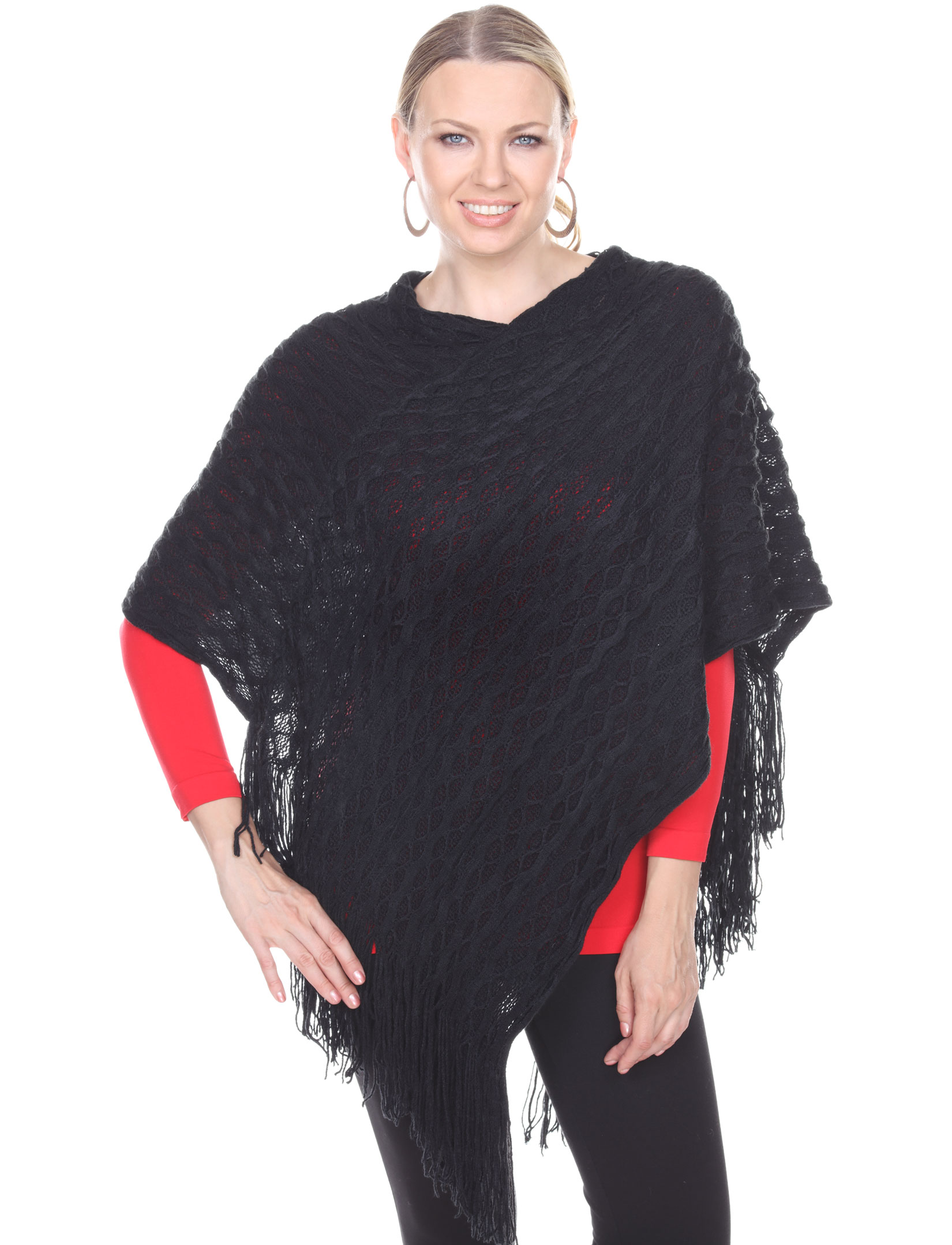 wholesale C Poncho - Wave Overlap Knit 4102*