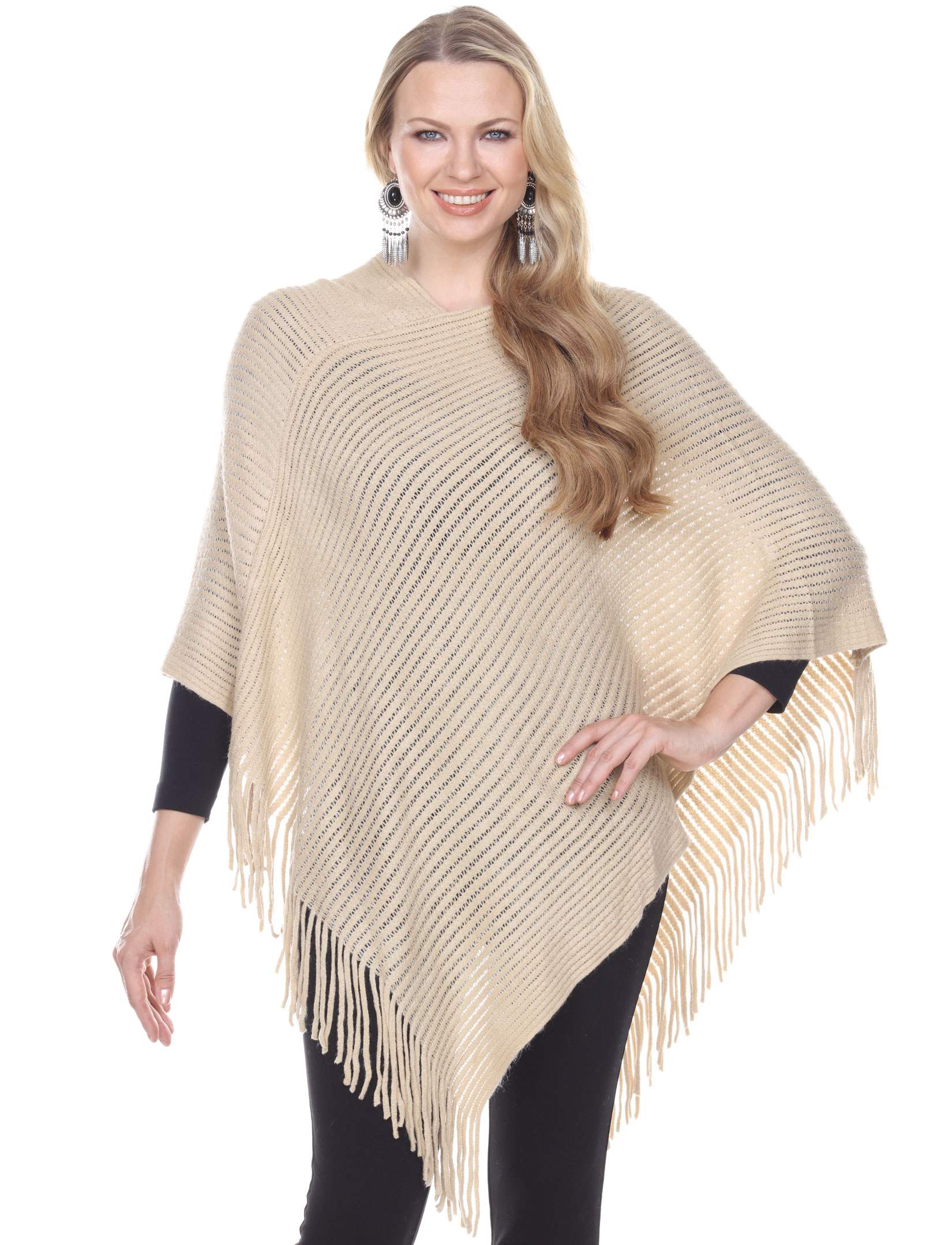 wholesale C Poncho - Cashmere Feel - Knit Ribbed 4105*