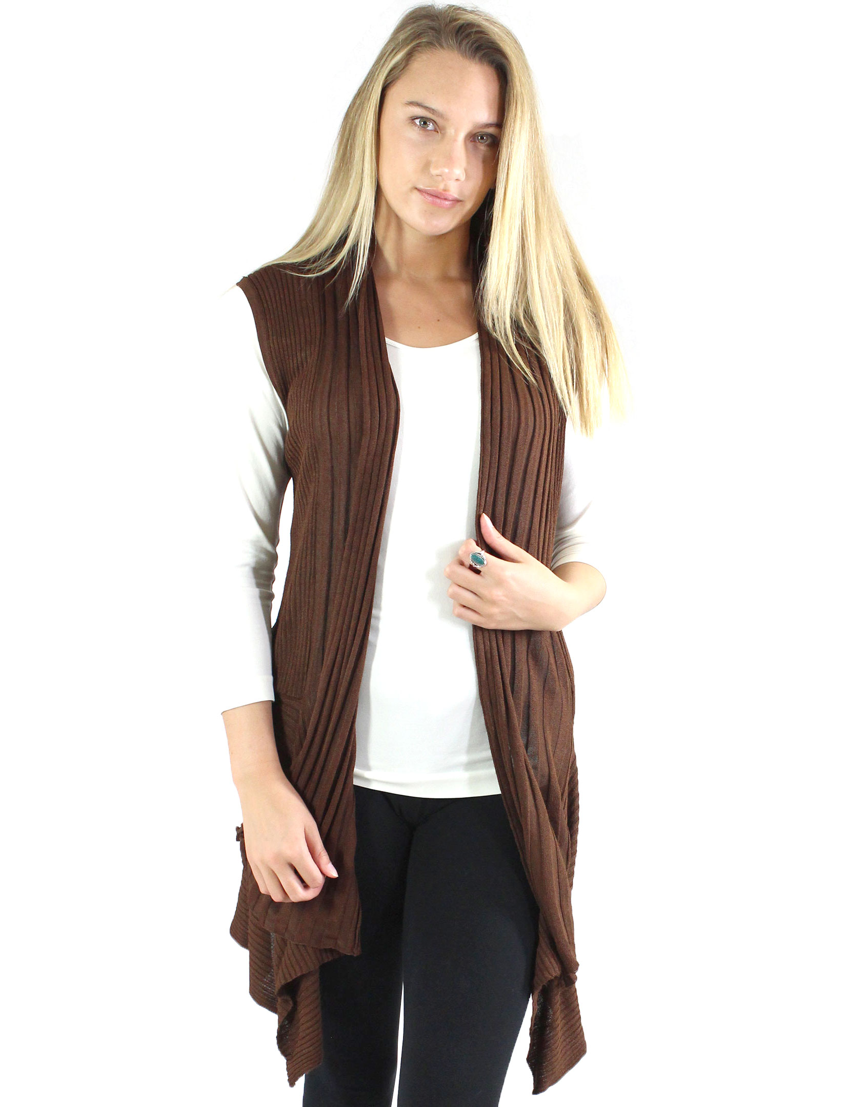 Magic Scarf: Magic Convertible Long Ribbed Sweater Vest