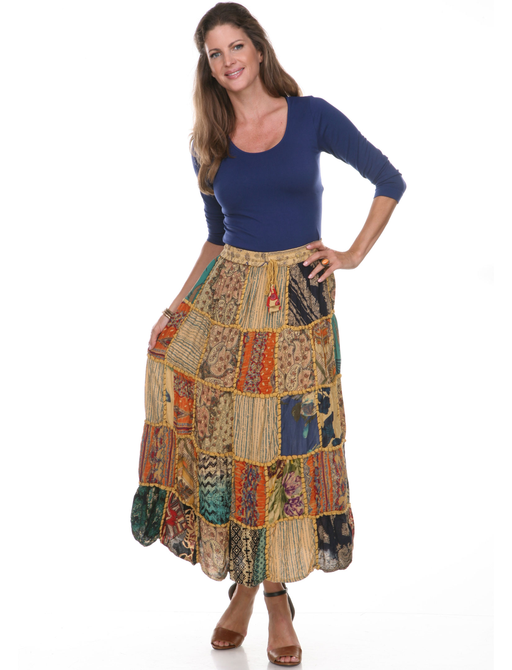 wholesale Skirts - Patchwork 80122 - Ankle Length