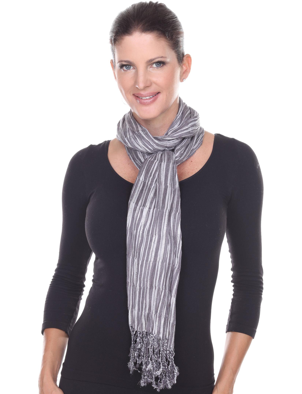 wholesale Oblong Scarves - Metallic Pleated Stripes 1003*