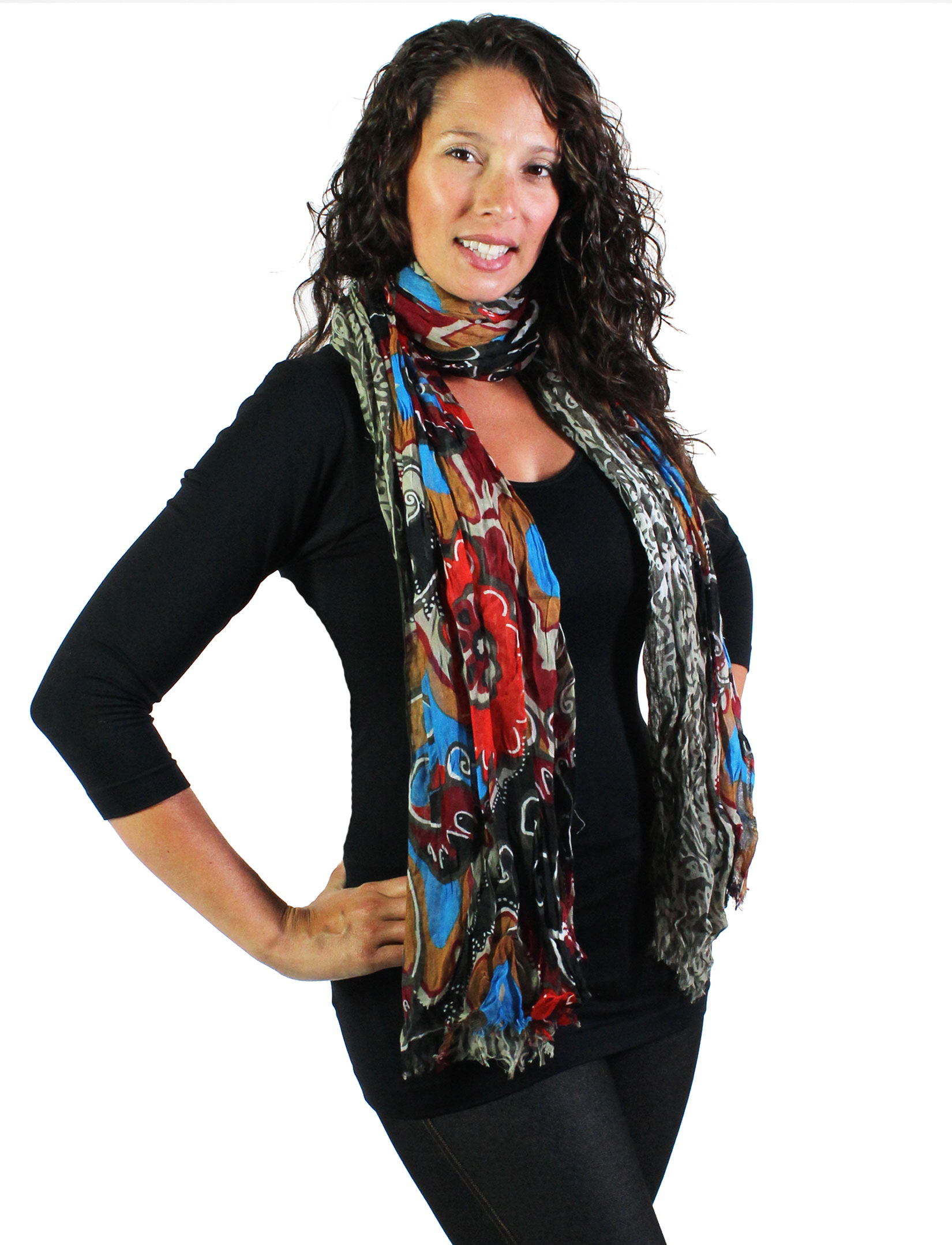 wholesale Oblong Scarves - Abstract Bohemian 1094