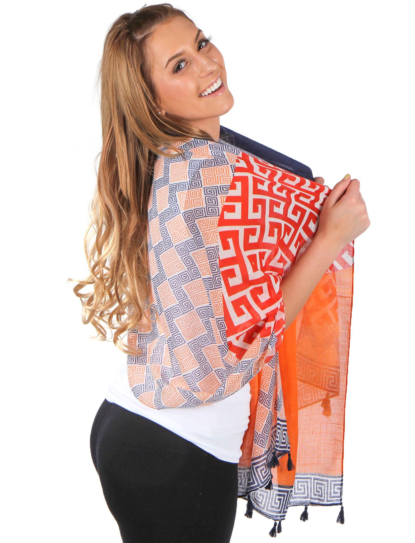 wholesale Big Scarves/Shawls - Greek Key Pattern 4125*