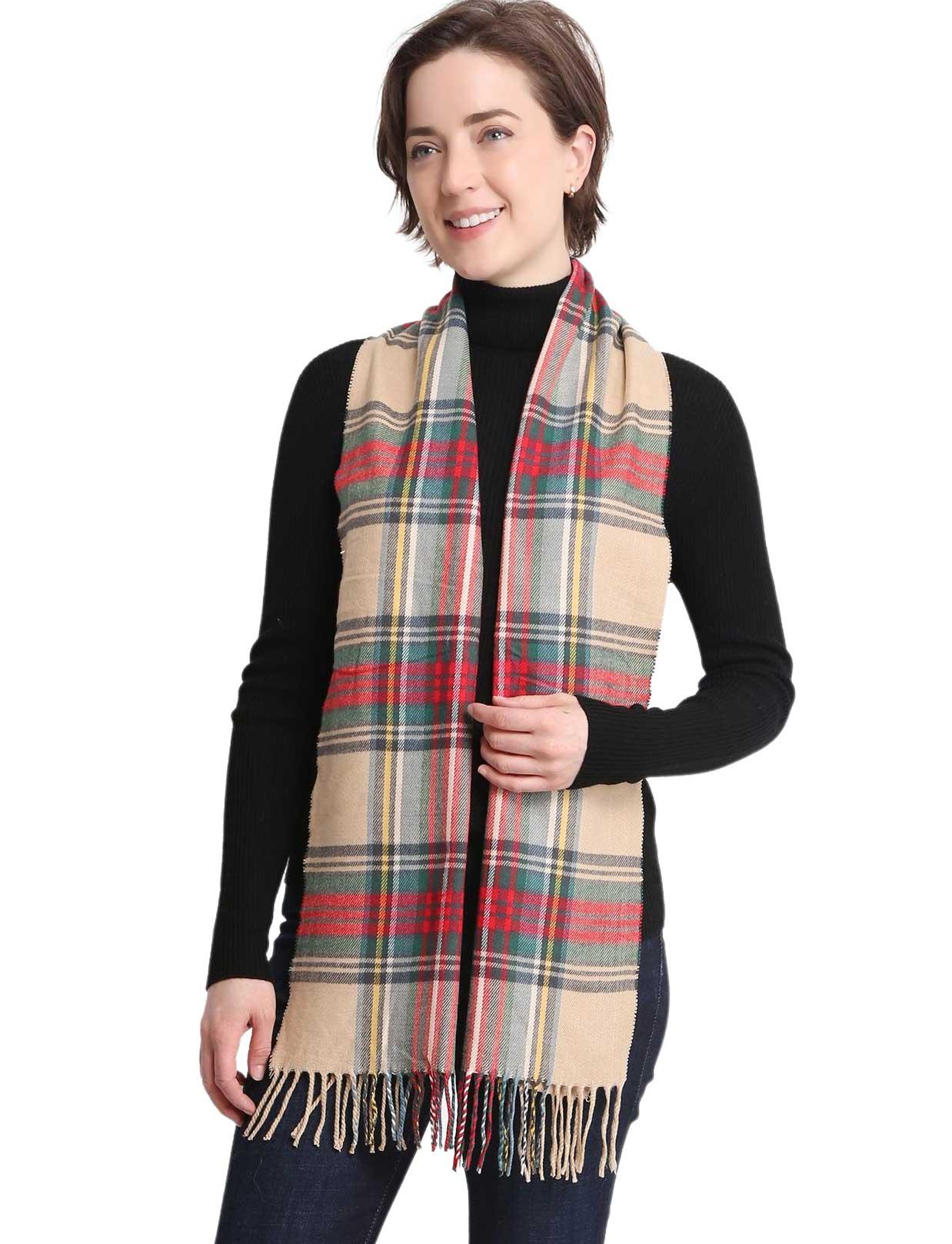 wholesale Oblong Scarves - Cashmere Feel Plaid - 1337