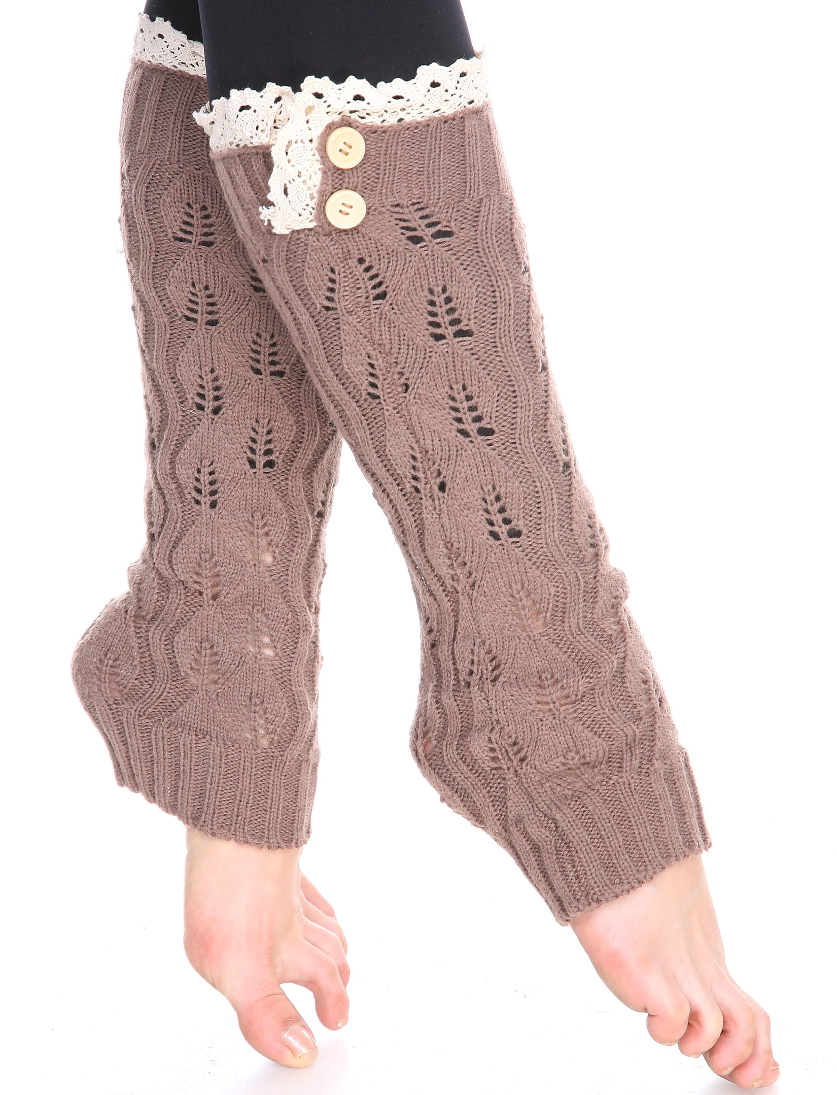 wholesale C Leaf Leg Warmers with Button & Lace 264x105