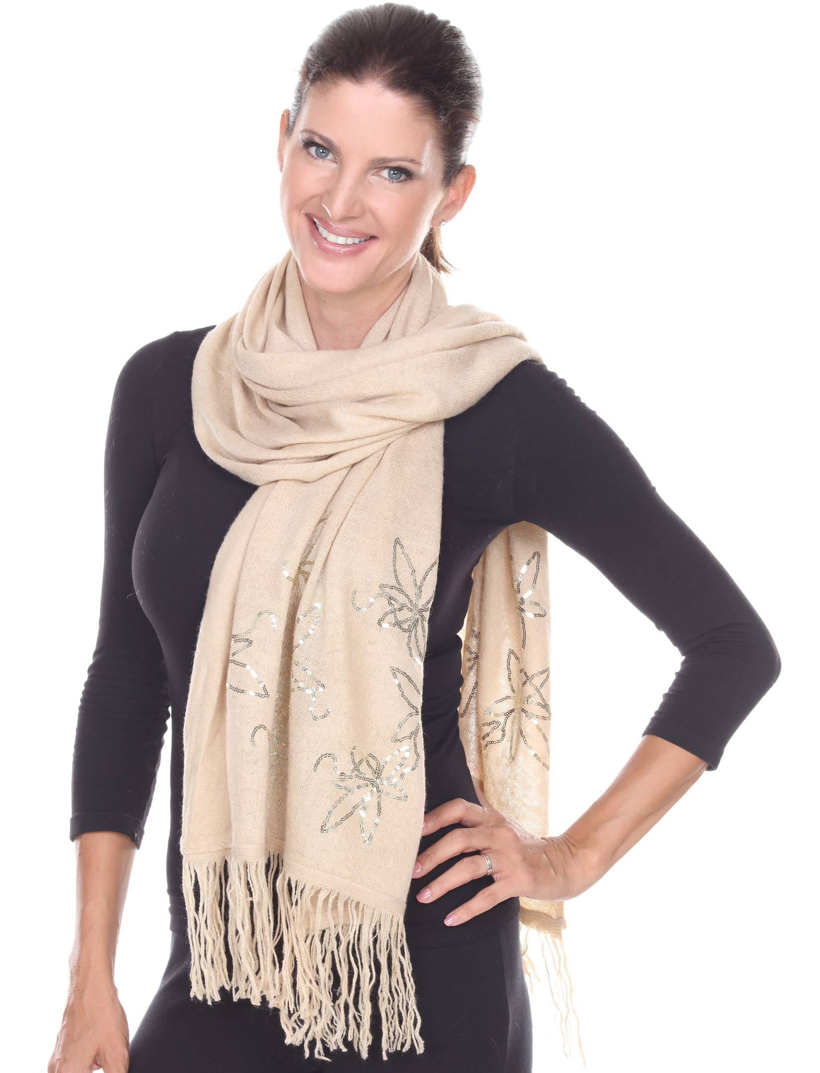 wholesale Oblong Scarves - Sequined Cashmere Feel*4109