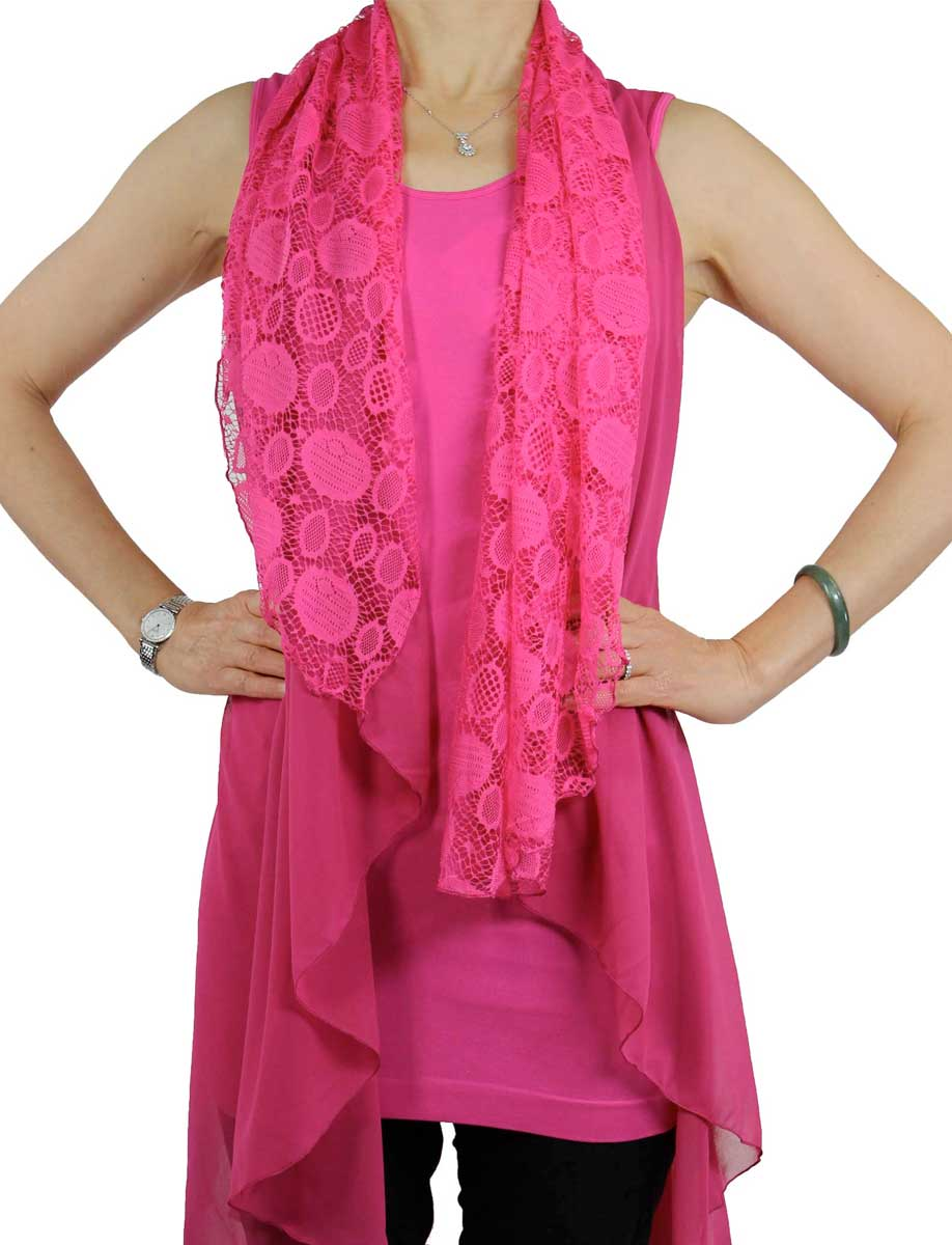 Chiffon Vests - Solid w/ Lace PN98* (Style 1)