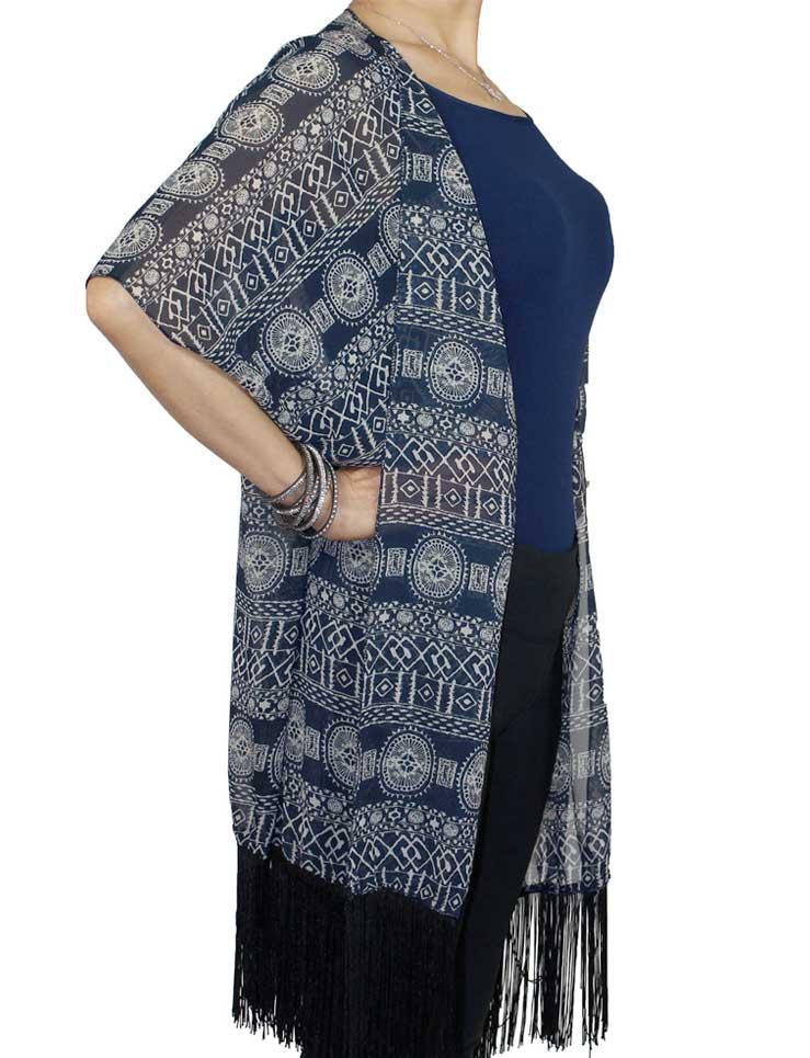 wholesale Kimono Vests - Fringed JP