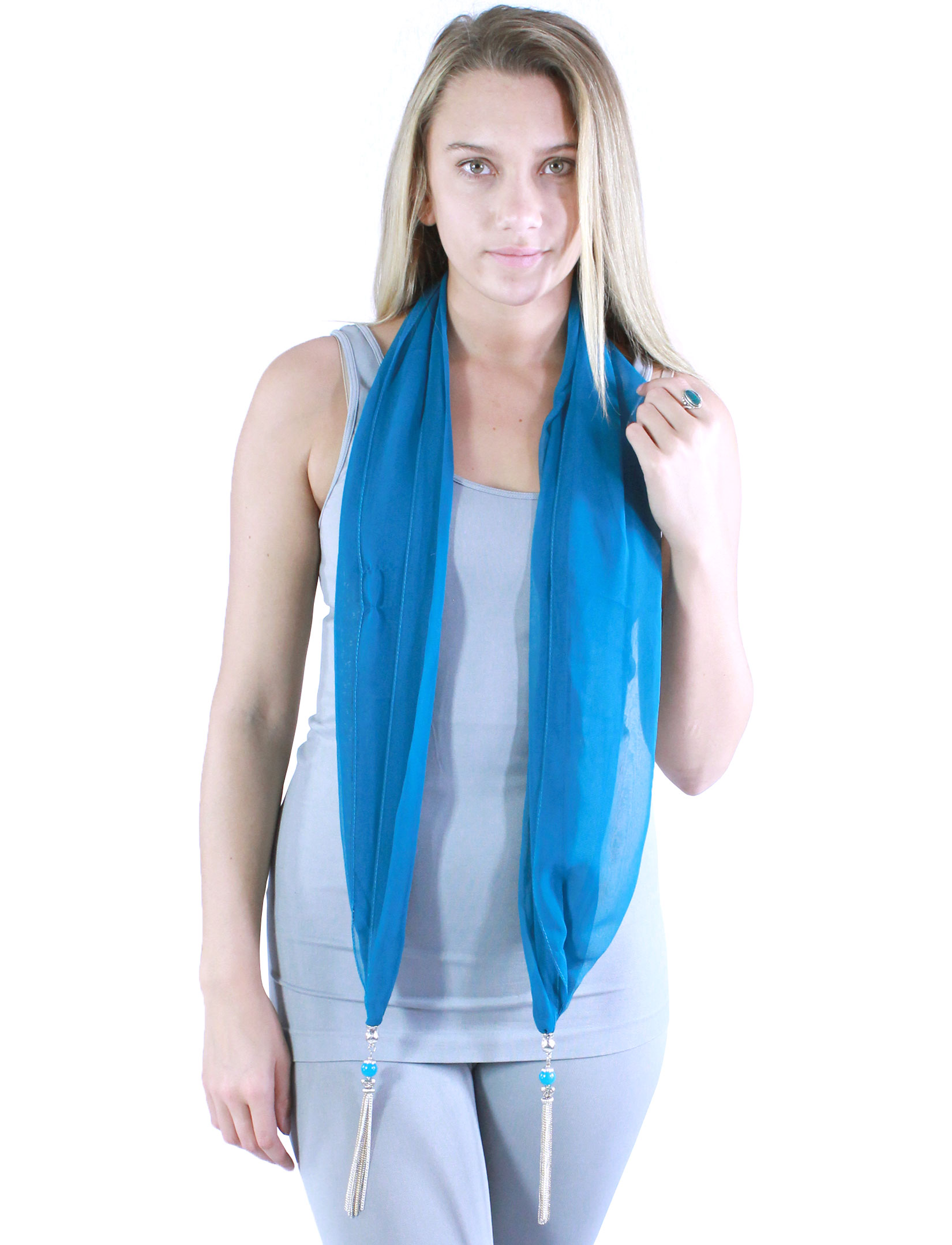 Silky Dress Scarves - Metal Tassel 8015