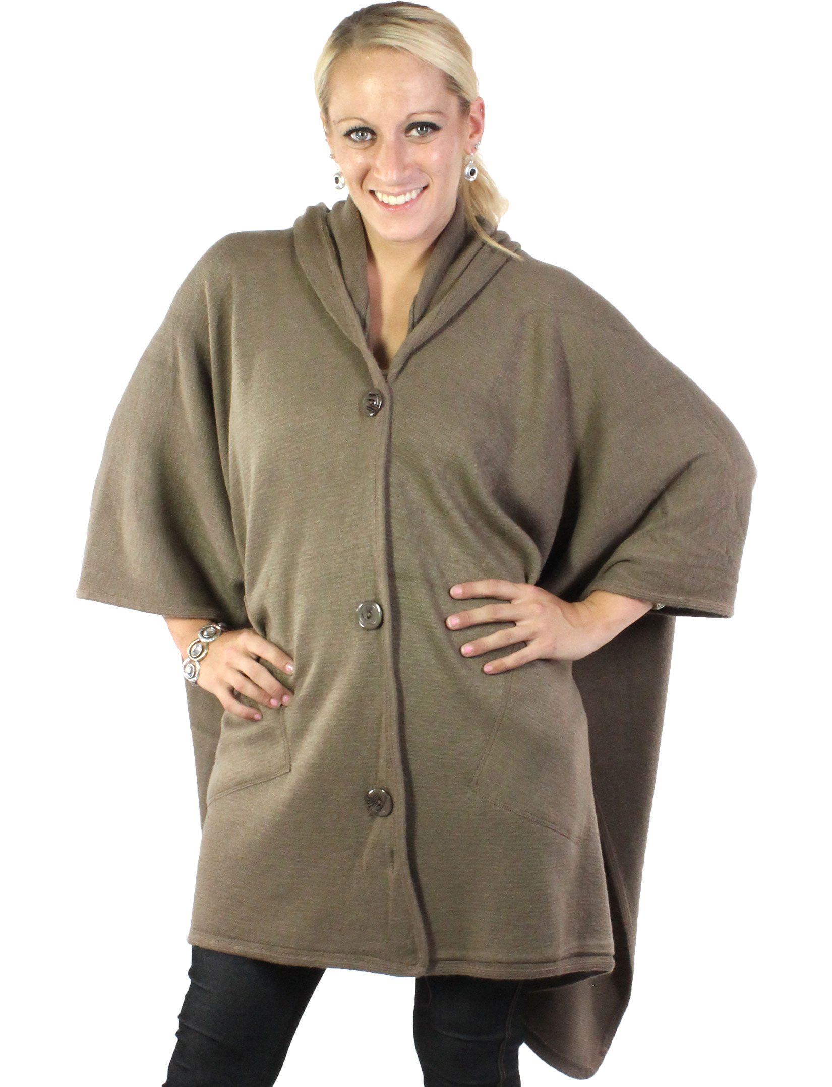 wholesale Capes - Button Closure Hoodie w/ Pocket 8708