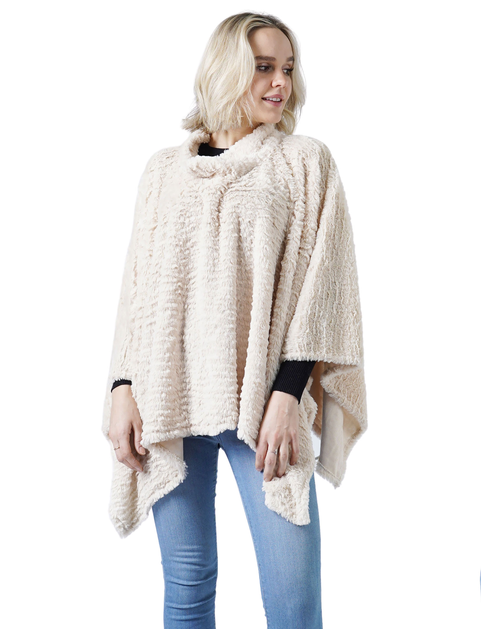 wholesale C Poncho - Rippled Faux Fur 8660