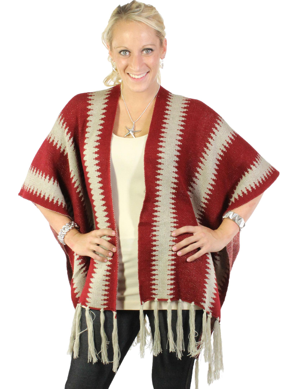 wholesale Ruana Capes - Two Tone Knit w/ Tassel 8644