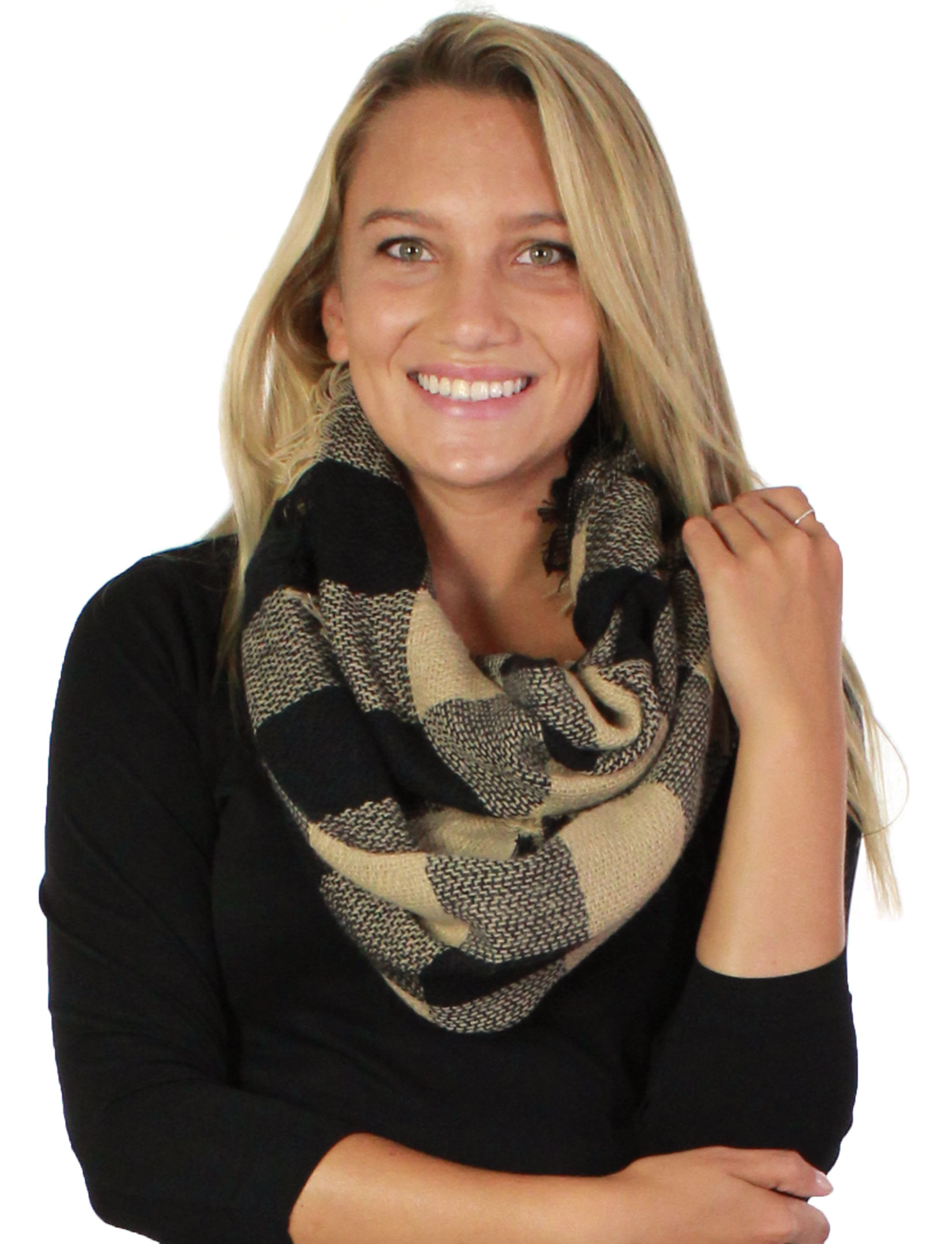 wholesale Infinity Scarves - Woven Plaid 8737 8435/8628