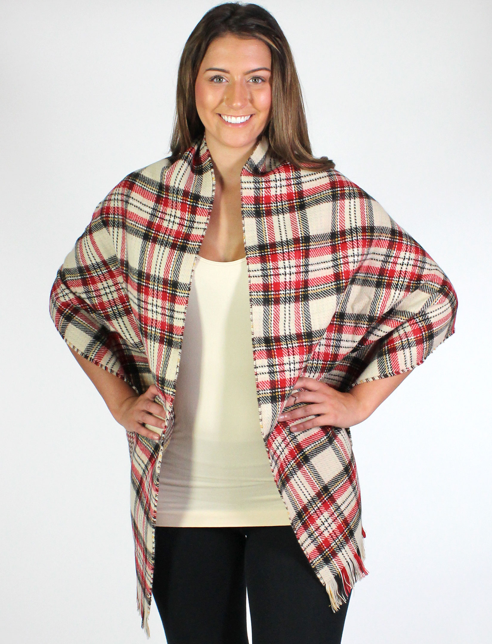 wholesale C Shawls - Reversible Plaid to Check 14092