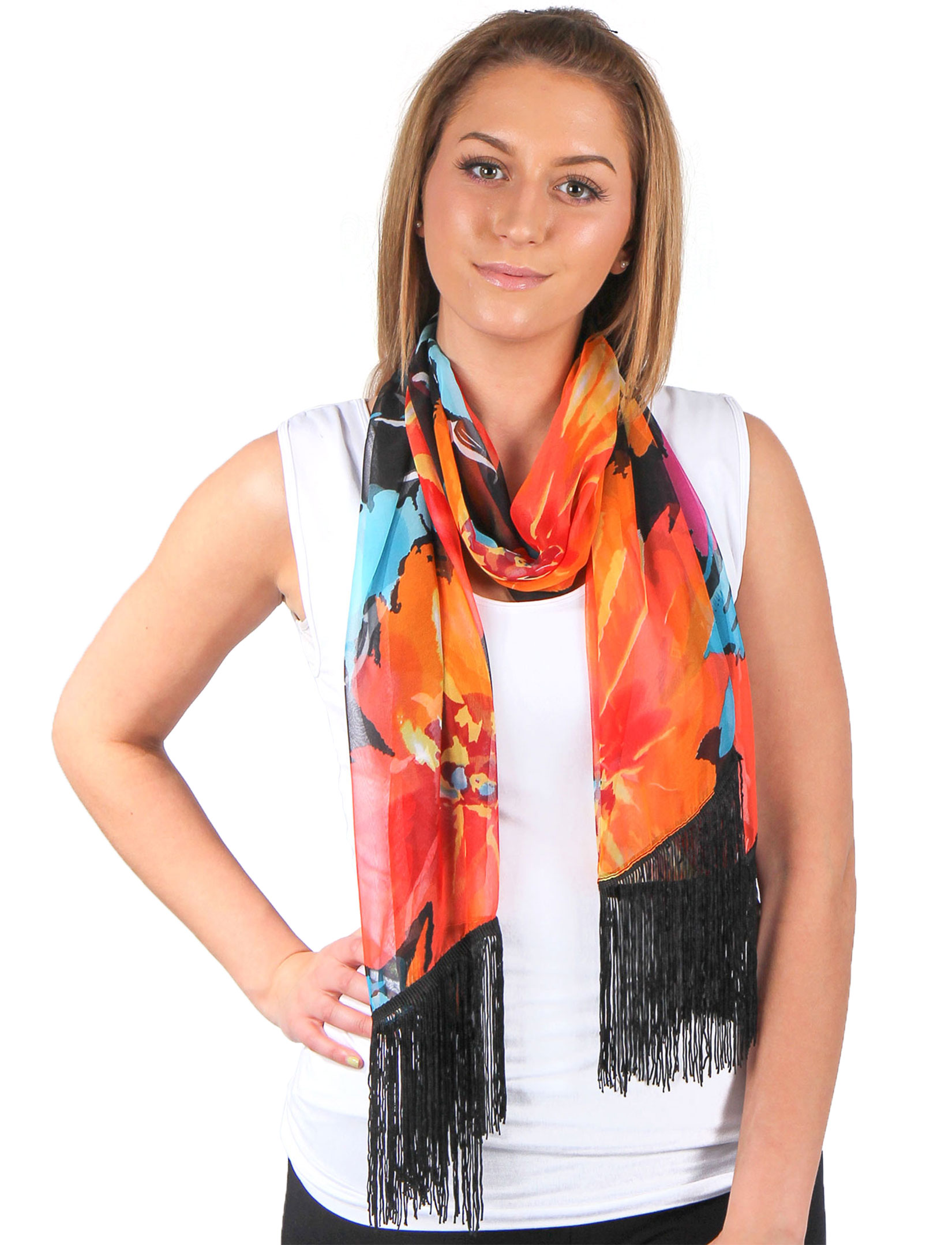 wholesale Silky Dress Scarves w/ Fringe