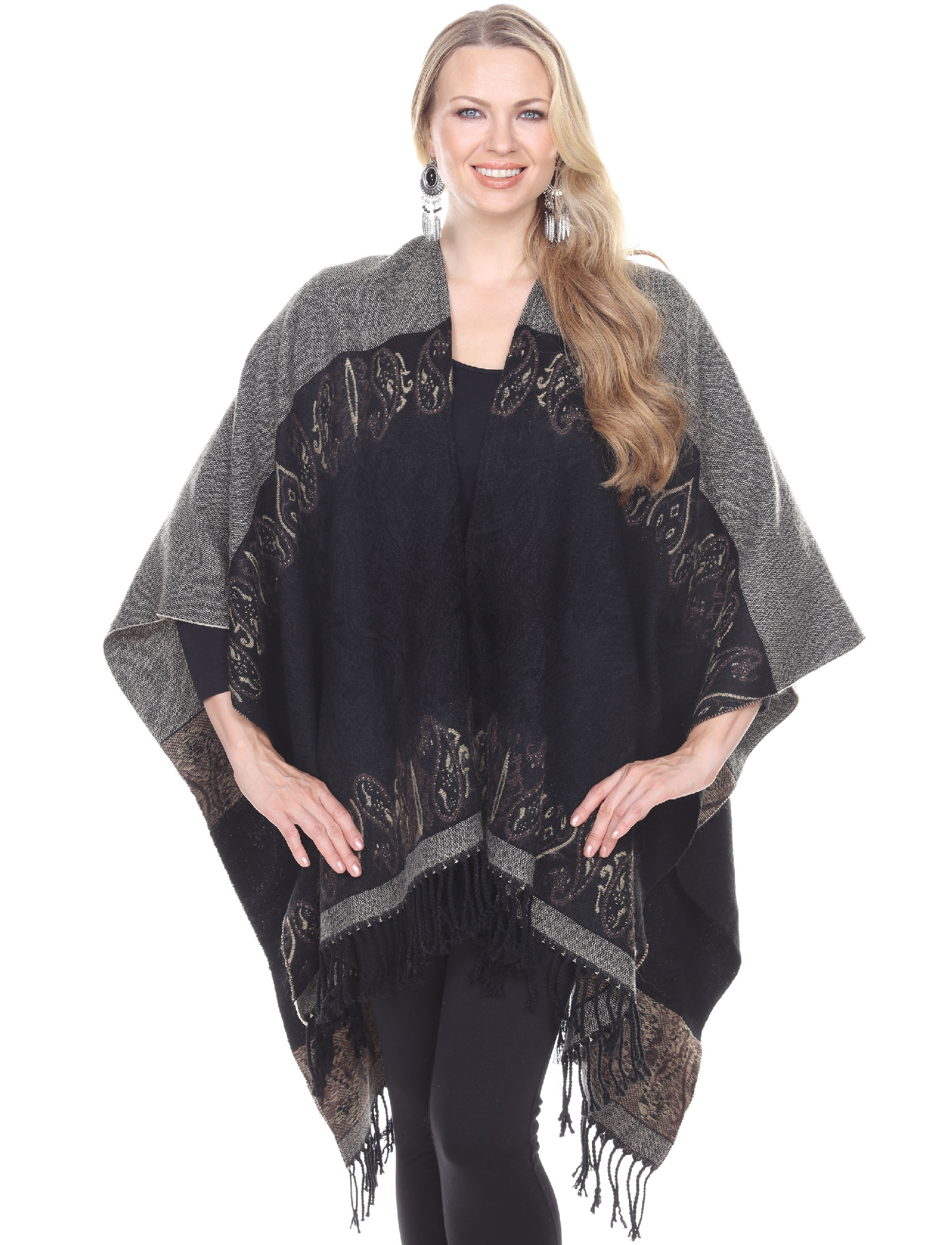 wholesale C Ruana-Style Wool Feel Capes