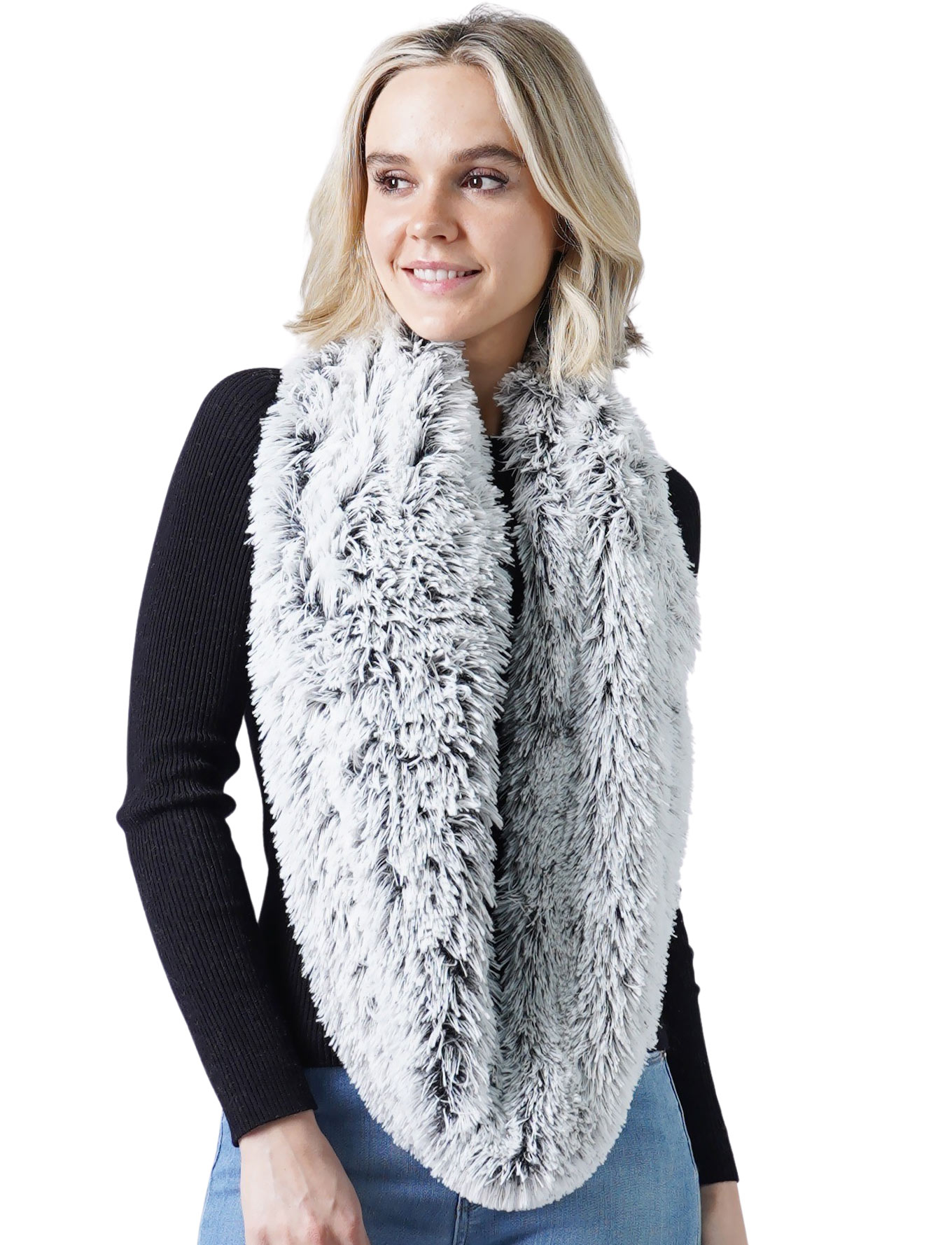wholesale Infinity Scarves - Faux Fur Two-Tone 8832
