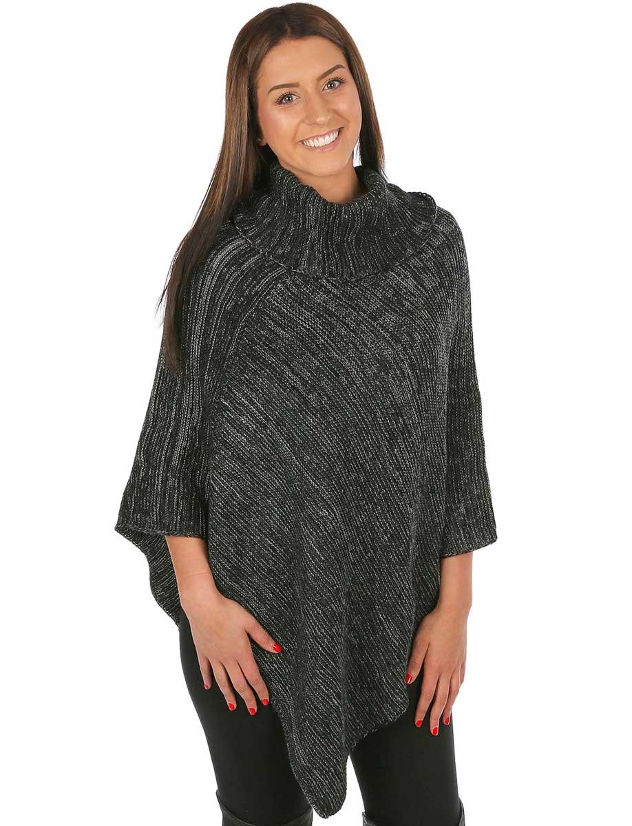 wholesale C Poncho - Multi Knit Turtleneck 8815