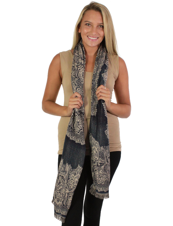 wholesale Oblong Scarves - Jacquard Flower Pattern 8873