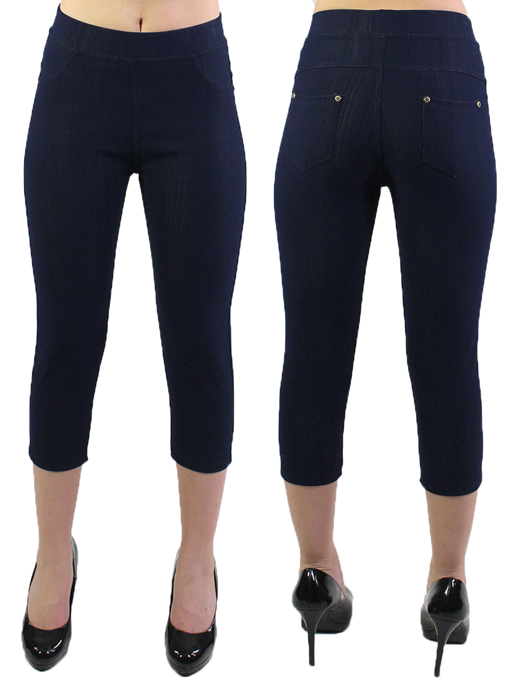 wholesale Denim Leggings - Capri Length w/ Back Pockets J04