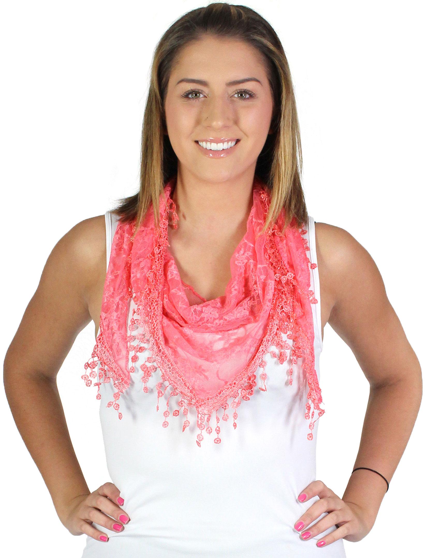 wholesale Triangle Scarves - Soft Lace w/ Tassel 8743*