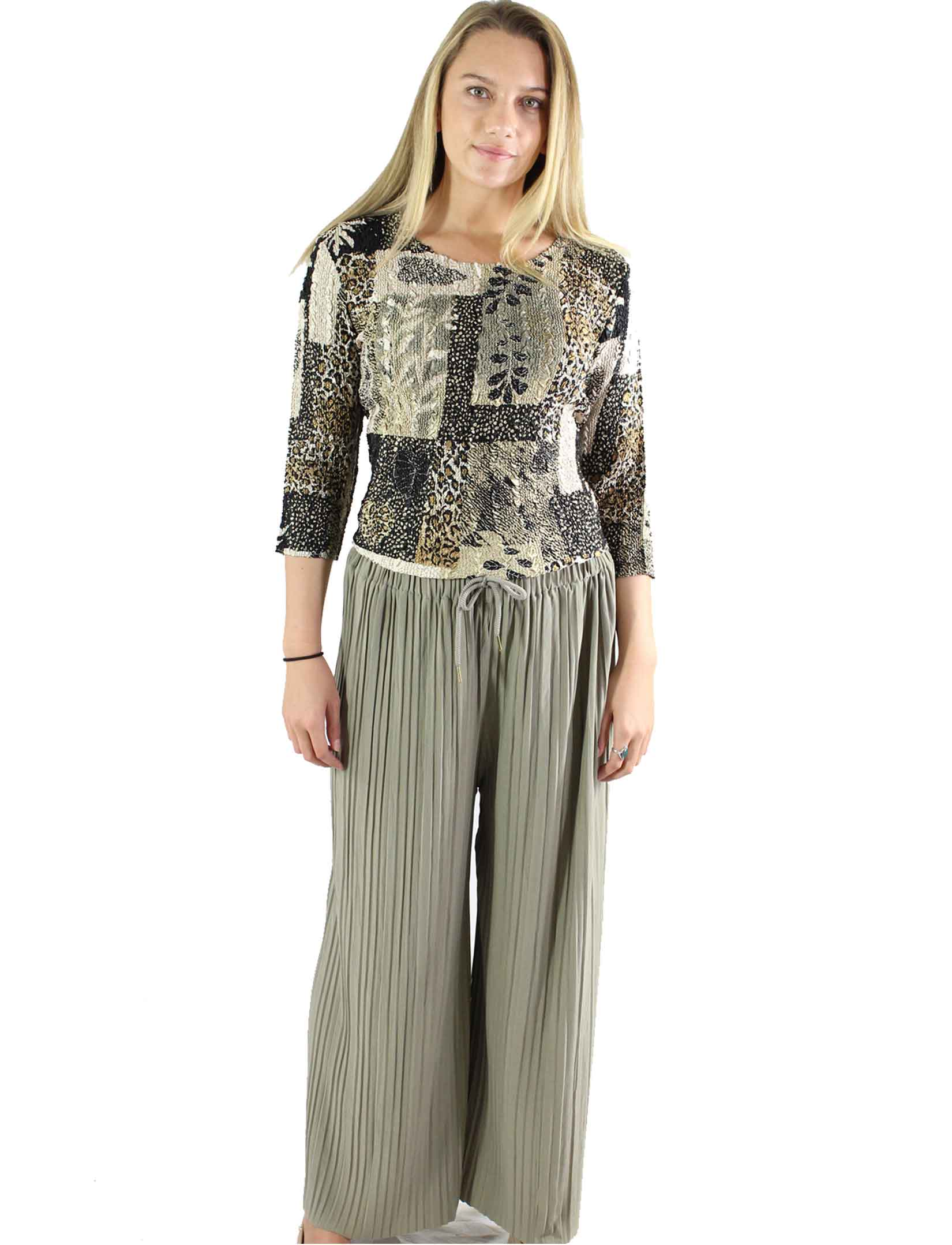 Pleated Wide Leg Pants - Georgette