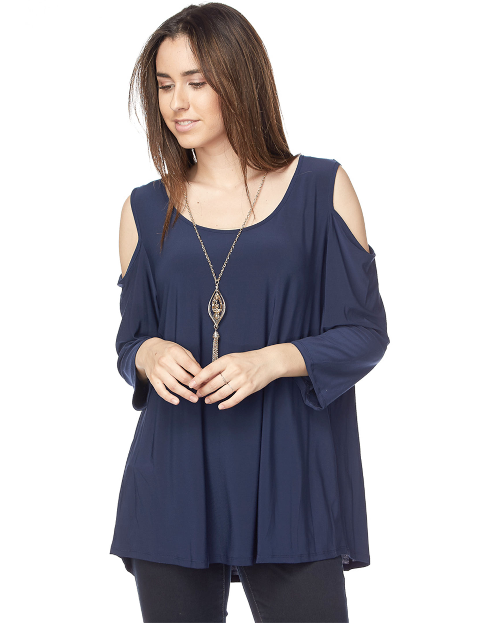Tunics - 3/4 Sleeve Cold Shoulder & Necklace 1637I