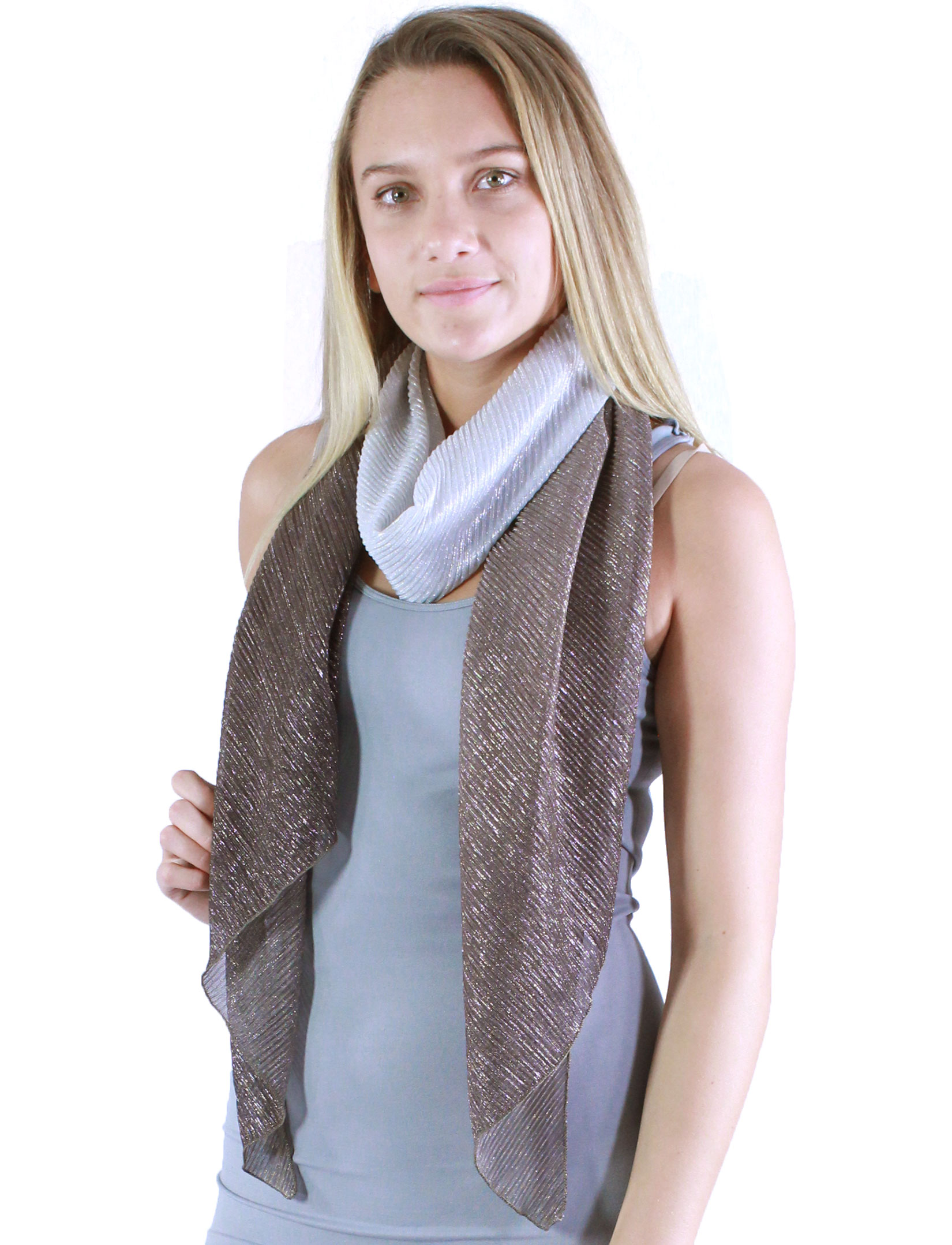 wholesale Oblong Scarves - Metallic Ombre Pleated 8092