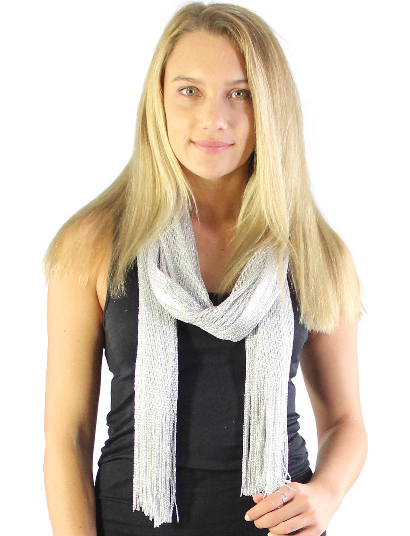 wholesale Oblong Scarves - Metallic Fishnet 74