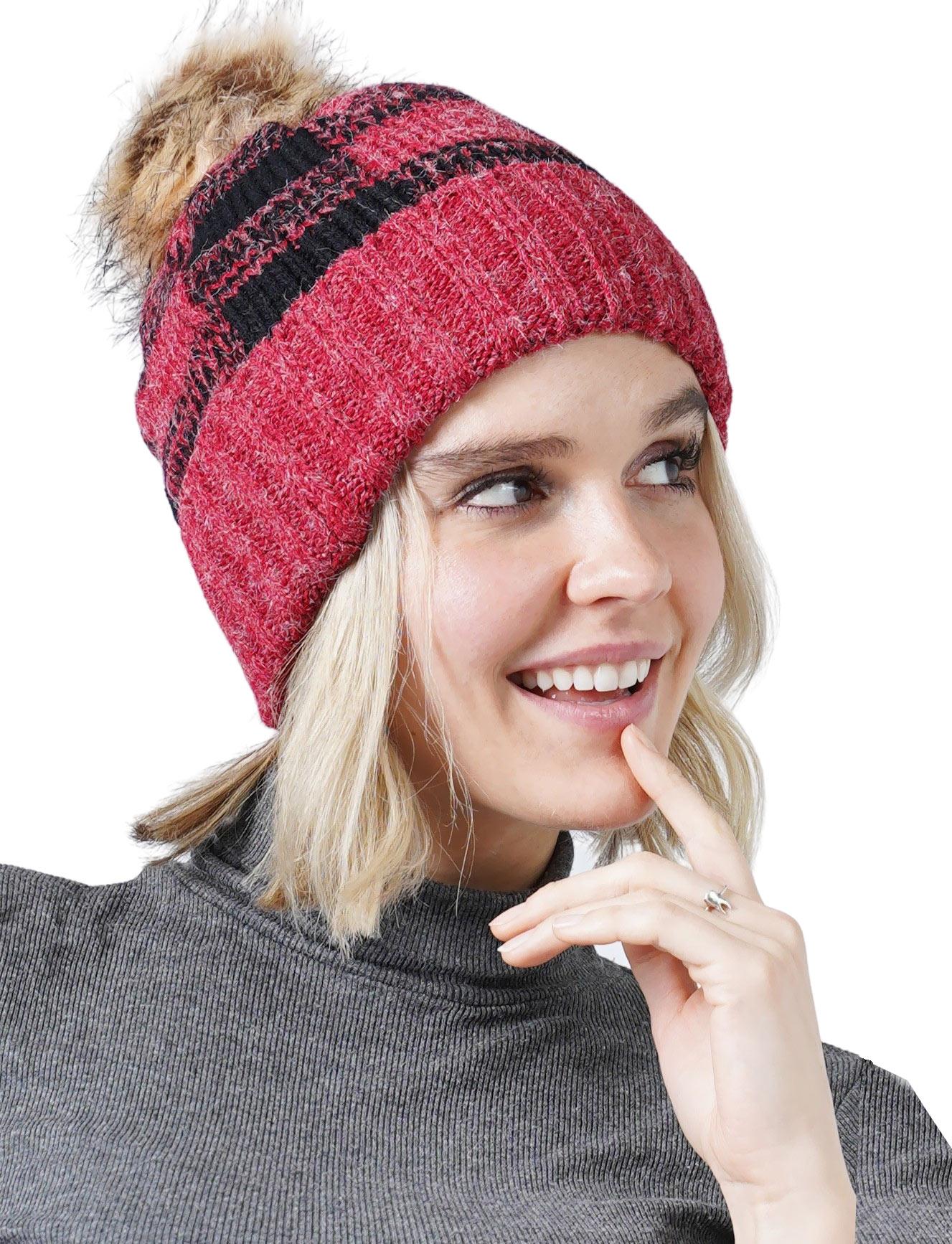 wholesale Knit Hat - Buffalo Check Pattern 8712
