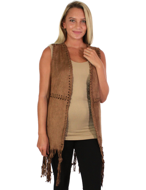 wholesale Vests - Faux Suede Tasseled 8642