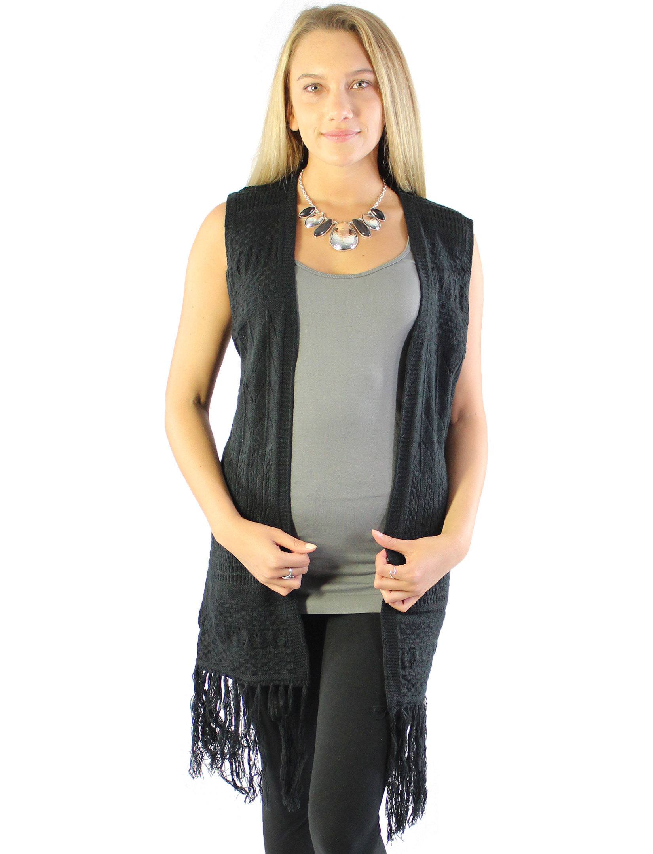 wholesale Vests - Mid-Length Knit Tasseled 8643
