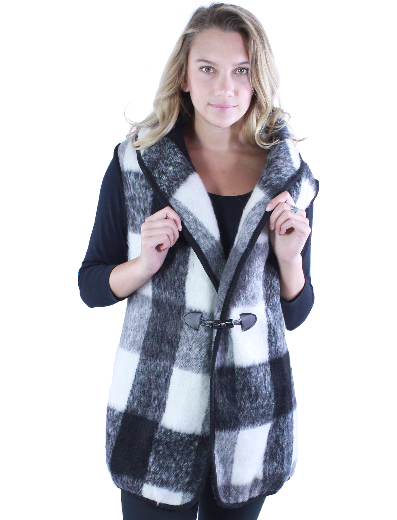 wholesale Vests - Brushed Check w/ Toggle Button 9046