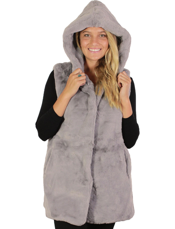 wholesale Vests - Faux Mink w/ Hood 8482
