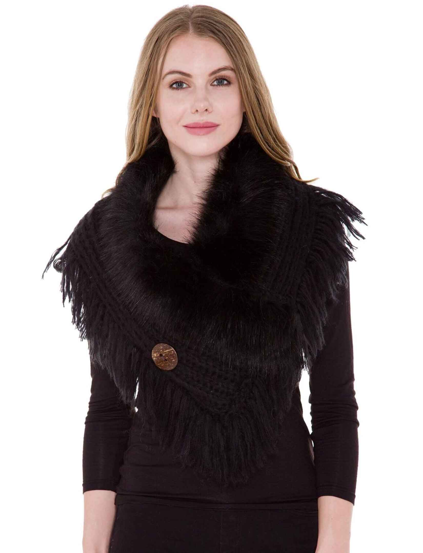 wholesale Faux Fur Collar w/ Coconut Button 1270