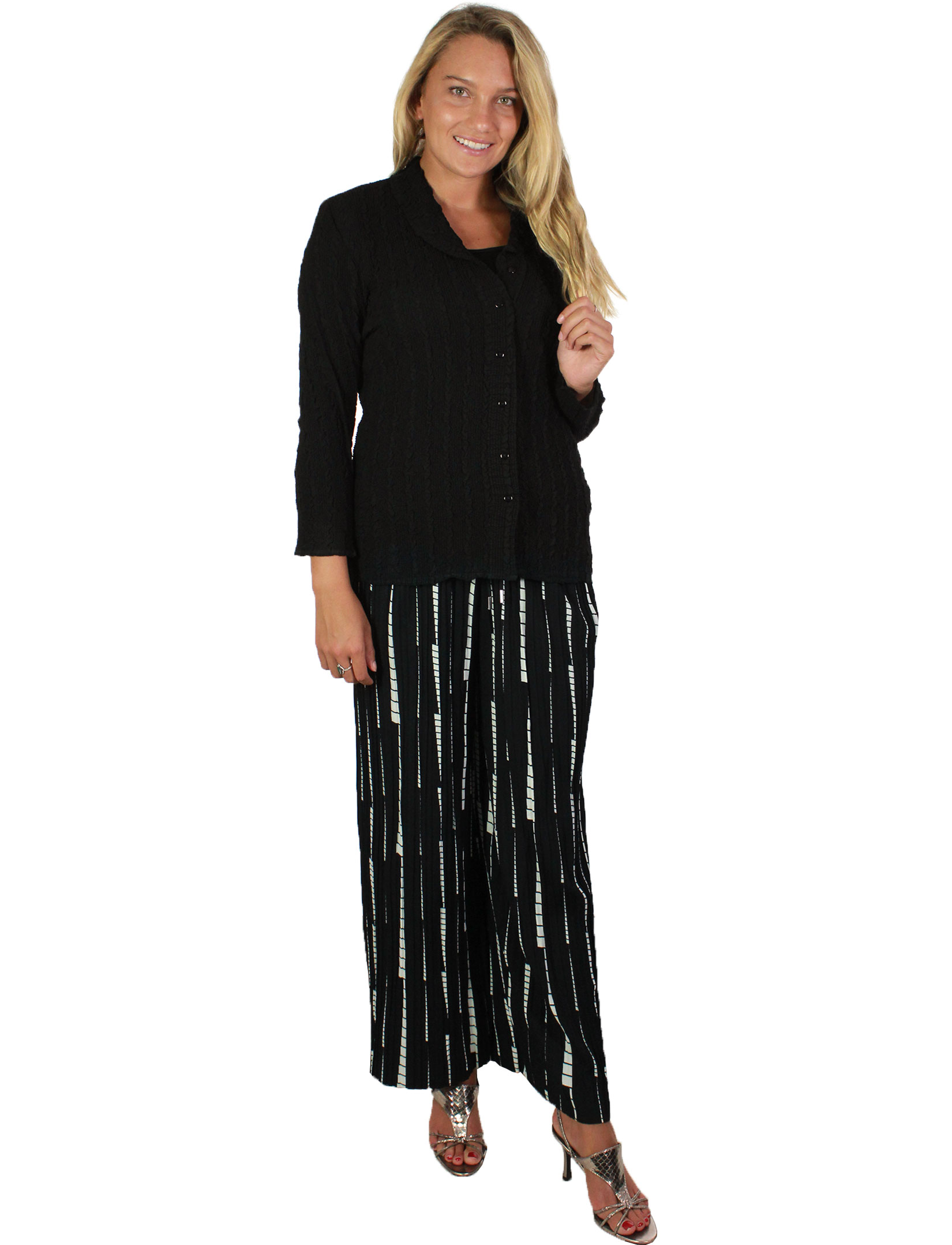 wholesale Pleated Wide Leg Pants - Stretch Twill