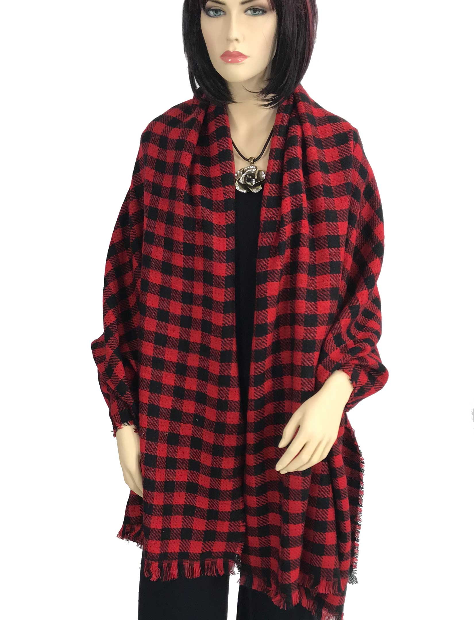 wholesale Oblong Scarves/Shawls - Buffalo Check 9088*