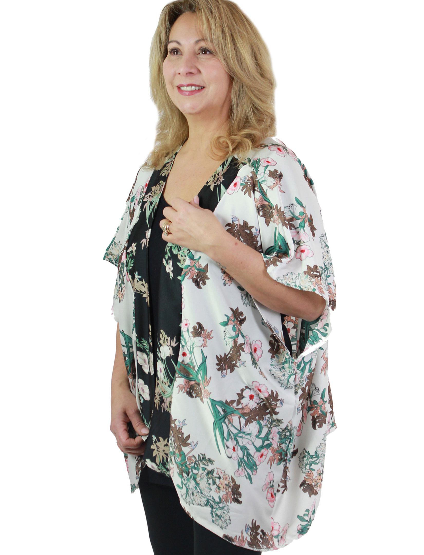 wholesale Kimono - Light Satin - Flower Print 9255