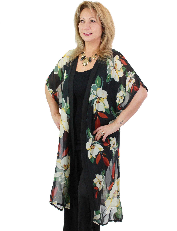 wholesale Chiffon Kimono - Flower Print 9265