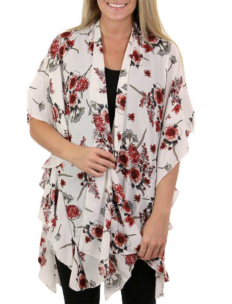 wholesale Ruffled Crepe Kimonos
