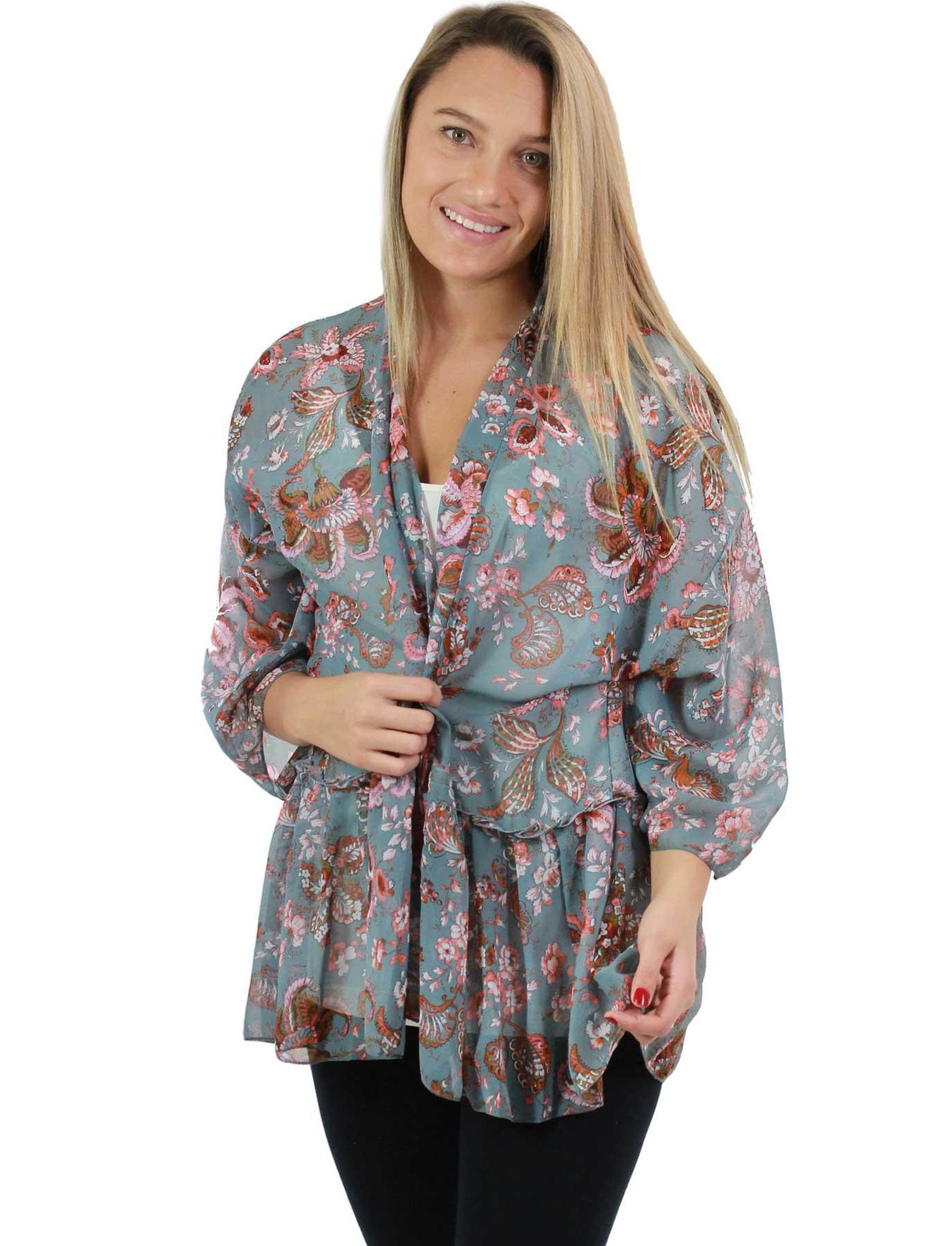 Chiffon Kimono - Ruffled Flower Print 1256