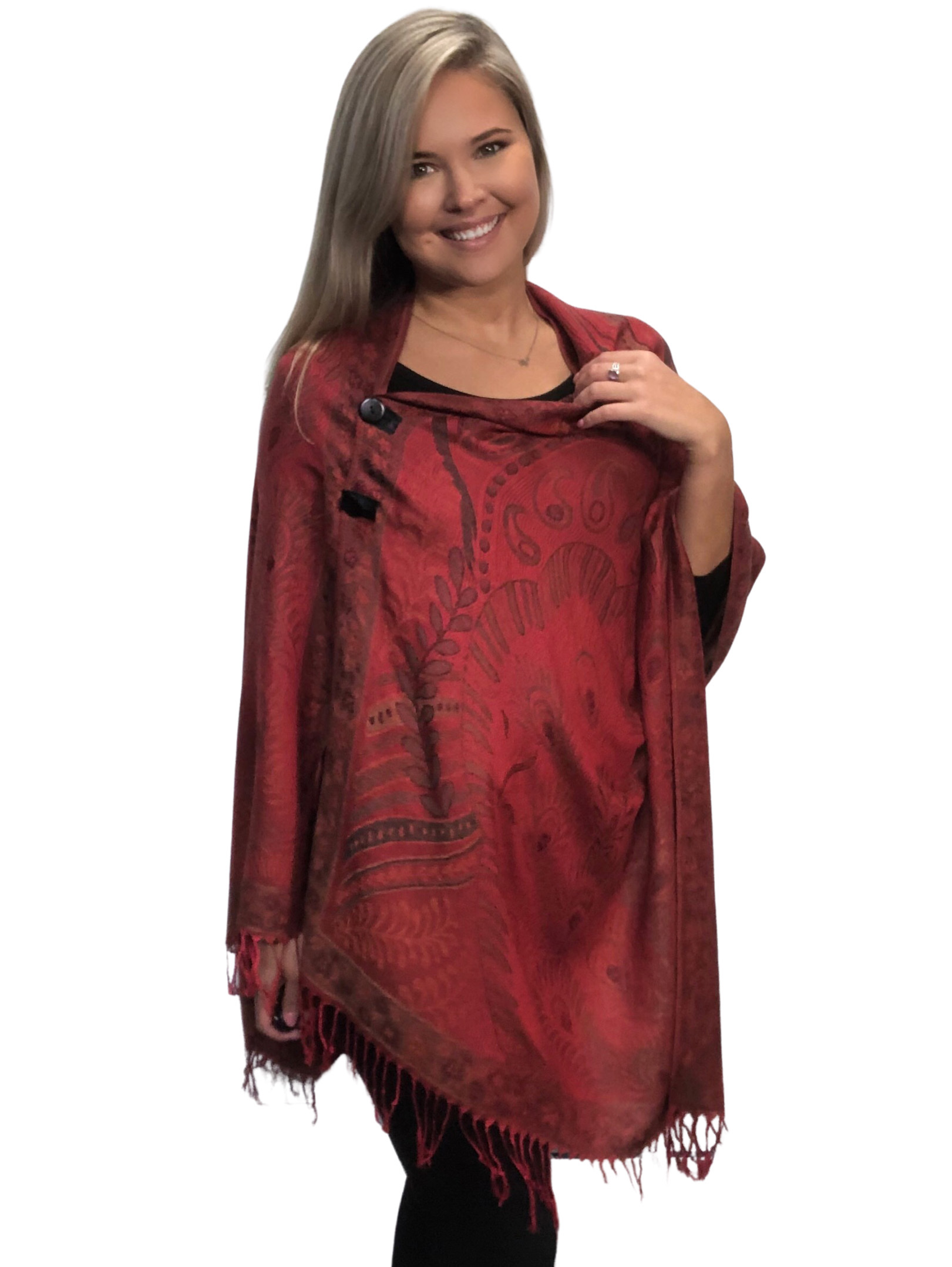 wholesale Pashmina Style Shawls with Buttons