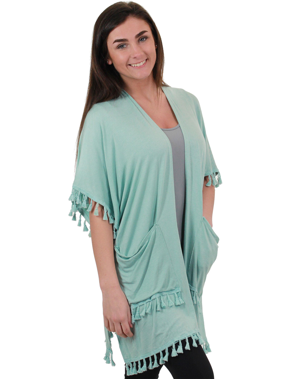 Kimono - Solid w/ Tassels & Pockets 9771