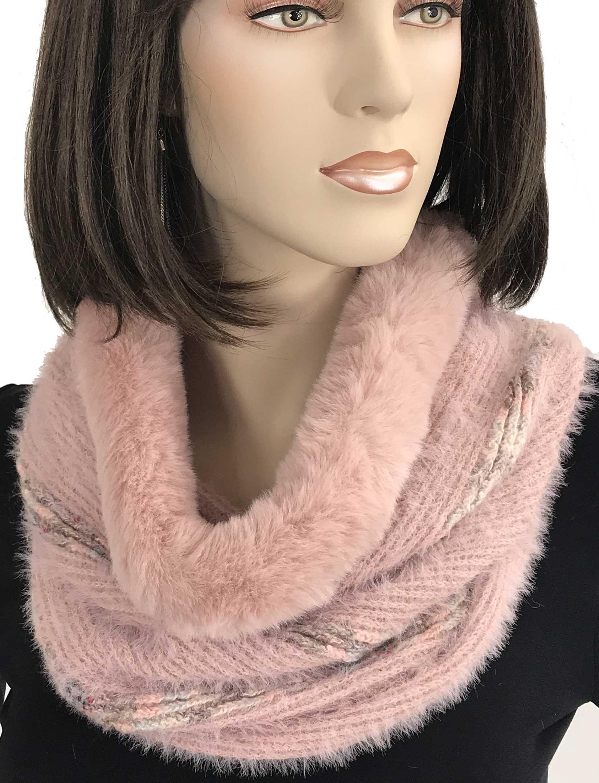 wholesale Cowl Neck Scarves - Fur Trim Eyelash Knit 9493