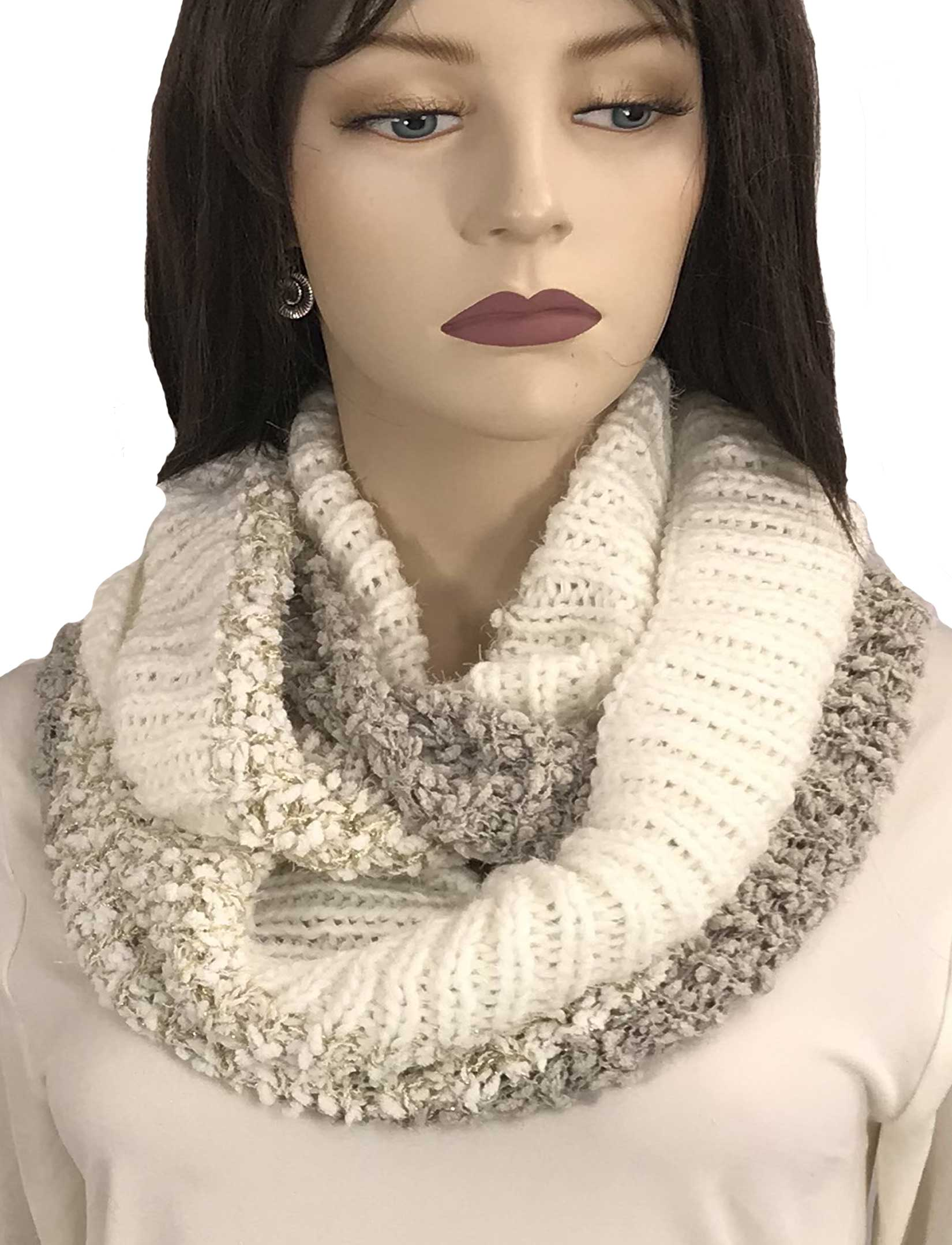 wholesale Infinity Scarves - Color Block w/ Lurex 9494